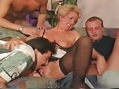 Double Penetration German Group Sex Old and Young Stockings