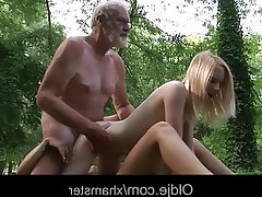 Old and Young Outdoor Teen Threesome Teen
