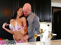 Big Boobs Brunette MILF Kitchen Fucking