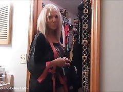 Blonde Mature Granny Lingerie High Heels