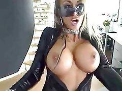 Gothic blonde strip enjoys